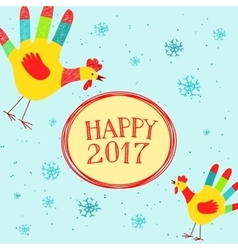 Happy New year message with hand printed roosters vector image vector image