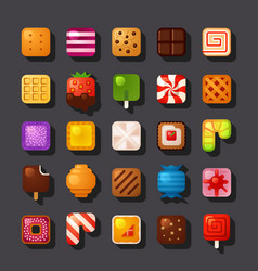 square shaped dessert icon set vector image vector image