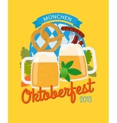 Beer mug and pretzel oktoberfest poster vector image vector image