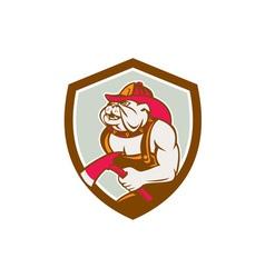 Bulldog Fireman With Axe Shield Retro vector image