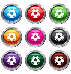 football soccer ball set 9 collection vector image