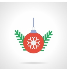Red Christmas ball flat color icon vector image vector image