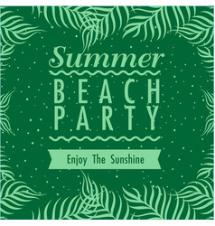 summer beach party enjoy the sunshine ribbon green vector image