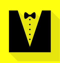 tuxedo with bow silhouette black icon with flat vector image vector image