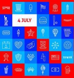 4 july line icons vector image