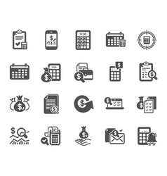 accounting icons set of calculation check vector image