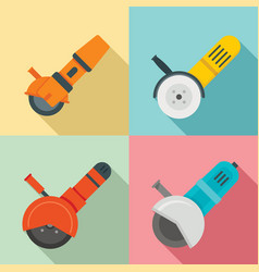 angle grinder icon set flat style vector image