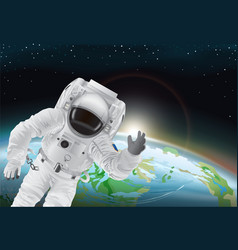 astronaut and earth poster vector image
