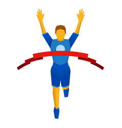 athlete crosses finish line red ribbon vector image