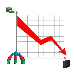 Azerbaijani manat money falls Falling of rate of vector