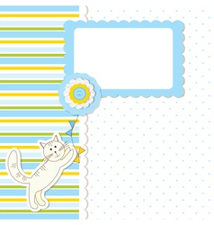 Baby shower with cat vector