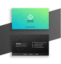 black and turquoise color business card design vector image