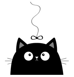 Black cat head face looking at bow hanging on vector