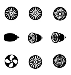 black turbines icon set vector image