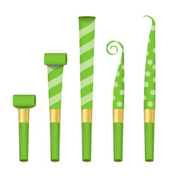 blower horn set green party blower sign vector image
