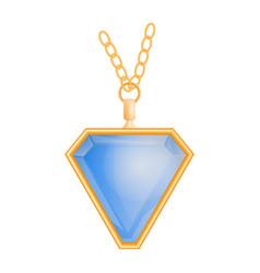 Blue topaz pendant mockup realistic style vector
