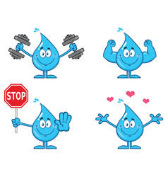 blue water drop characters collection - 2 vector image
