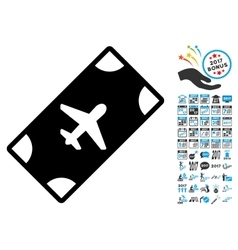 Boarding Pass Icon with 2017 Year Bonus Symbols vector image