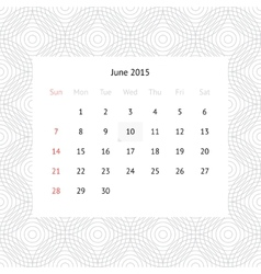 Calendar page for June 2015 vector image