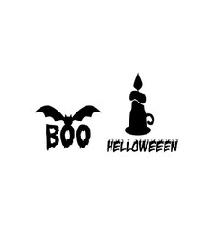 Candle and bat halloween element vector