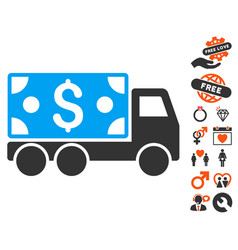 cash delivery icon with love bonus vector image vector image