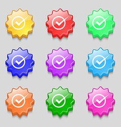Check mark sign icon Checkbox button Symbols on vector