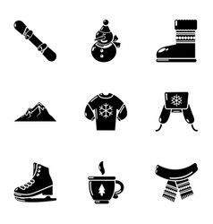 Chilly icons set simple style vector