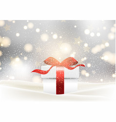 Christmas gift background with glossy red bow vector