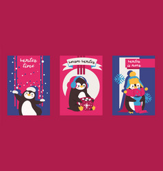 christmas greeting card with pinguin enjoy winter vector image
