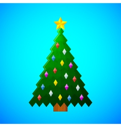 christmas-tree-with-decorations-on-blue-background vector image