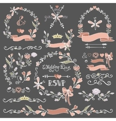 Colored Doodles floral decor setBorderswreath vector image