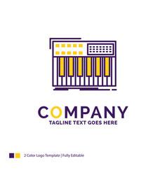 Company name logo design for synth keyboard midi vector