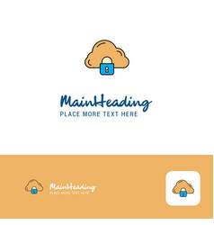 creative cloud protected logo design flat color vector image