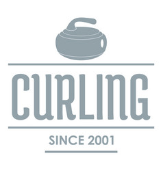 Curling logo simple gray style vector