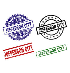 Damaged textured jefferson city seal stamps vector