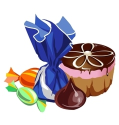 Delicious chocolate cake and different sweets vector