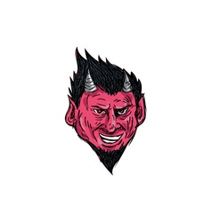 Demon horns goatee head drawing vector