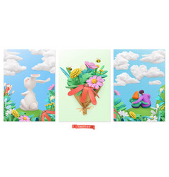 easter bunny bouquet wildflowers couple in vector image