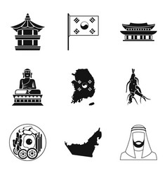 Eastern culture icons set simple style vector
