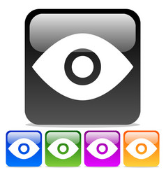 eye icons eye symbols on glossy rounded squares vector image