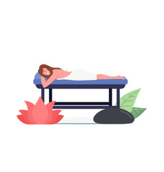 Female character lying on couch with needles vector