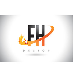 fh f h letter logo with fire flames design vector image