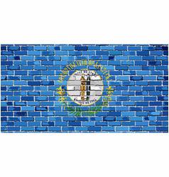 Flag of kentucky on a brick wall vector