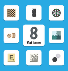 flat icon games set of arrow lottery jigsaw and vector image