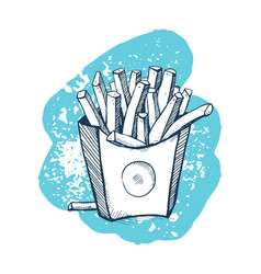 french fries hand drawn icon vector image