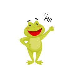 friendly frog waving paw and saying hi cheerful vector image