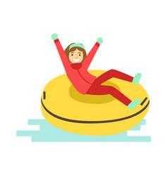 girl having fun while sledding on snow rubber tube vector image
