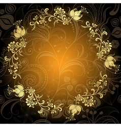 Gold-dark floral lacy circle frame vector image