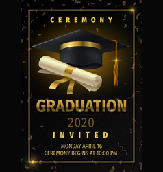 graduation party prom celebration invitation vector image