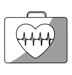 Grayscale silhouette with first aid kit for heart vector